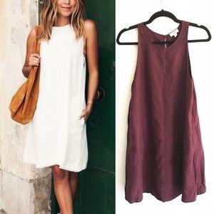 ARITZIA Wilfred Linen Shift Dress Burgundy XXS
